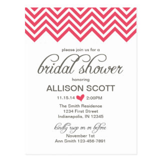 Pink Chevron Bridal Shower Postcard