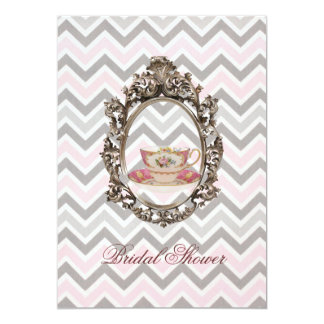 "pink chevron Bridal Shower Tea Party Invitation 5"" X 7"" Invitation Card"