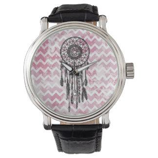 Pink Chevron Dreamcatcher Wristwatch