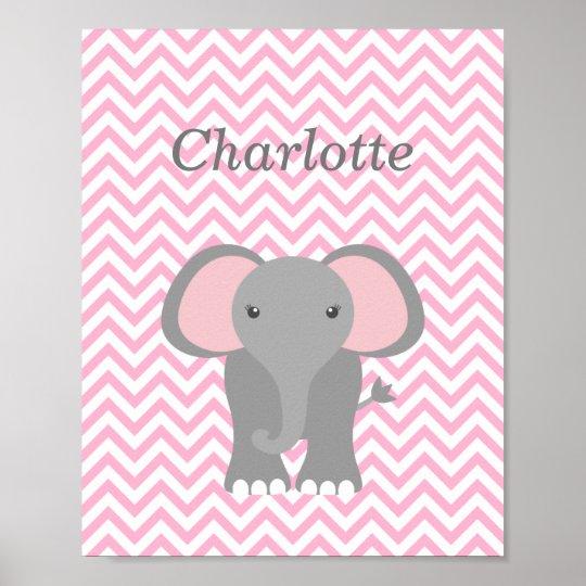 Pink Chevron Elephant Personalised Nursery Decor Poster