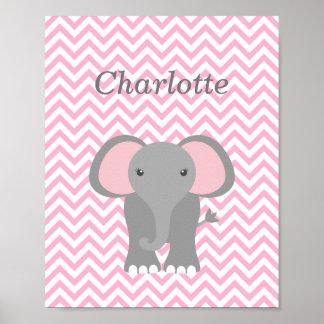 Pink Chevron Elephant Personalized Nursery Decor
