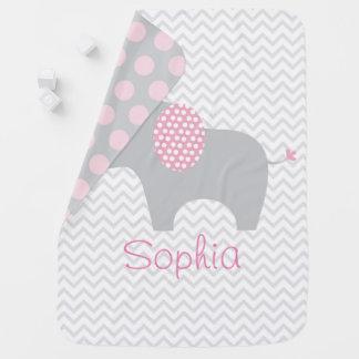 Pink Chevron Elephant Swaddle Blankets
