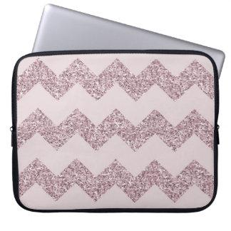 Pink Chevron Faux Glitter Laptop Sleeve