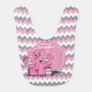 Pink Chevron Funny Elephant Bib