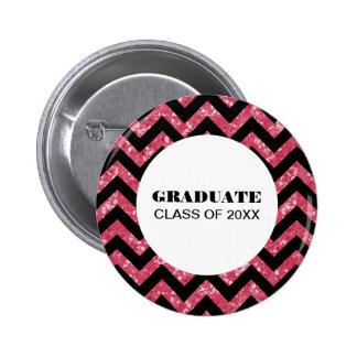 Pink Chevron Glitter Graduation Button