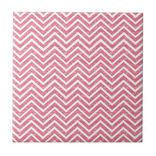 Pink Chevron Glitter Look ZigZag Shimmer Girly Tiles