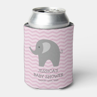 Pink chevron grey elephant baby shower can cooler