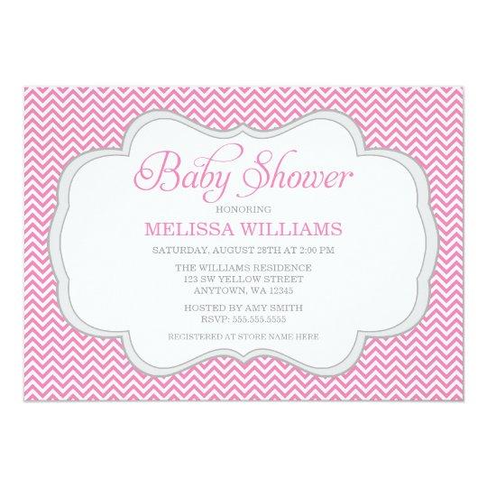 Pink Chevron Grey Frame Baby Shower Card