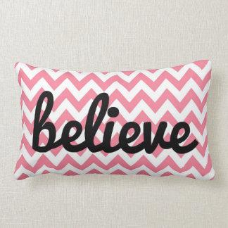Pink Chevron Inspirational Pillow | Believe