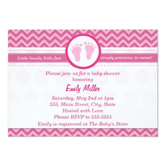 Pink Chevron Invitation Baby Girl Shower