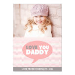 Pink Chevron Love You Daddy   Father's Day Card 13 Cm X 18 Cm Invitation Card