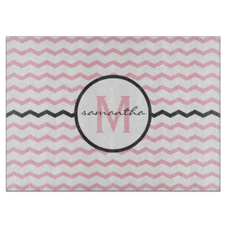 Pink Chevron Monogram Cutting Board