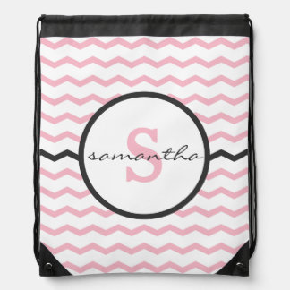 Pink Chevron Monogram Drawstring Bag