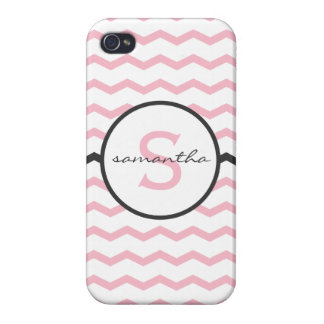 Pink Chevron Monogram iPhone 4/4S Cases