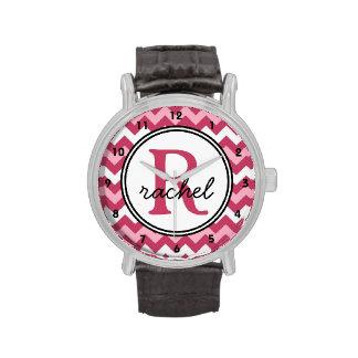 Pink Chevron Monogram Personalized Watch