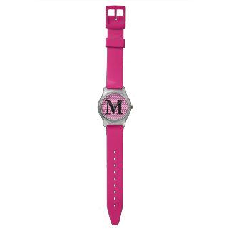 Pink Chevron Monogram Wrist Watches