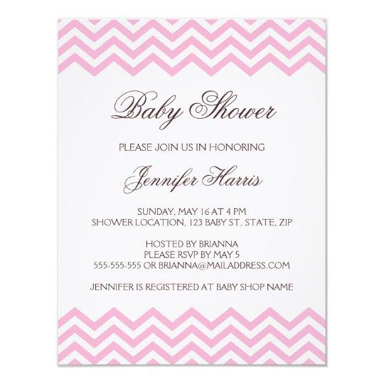 Pink chevron pattern Baby Shower invitation