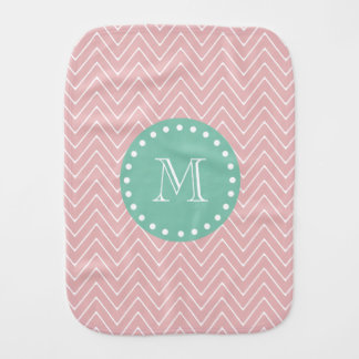 Pink Chevron Pattern | Mint Green Monogram Burp Cloth