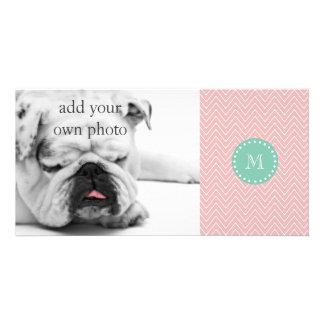Pink Chevron Pattern   Mint Green Monogram Custom Photo Card