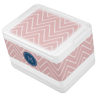 Pink Chevron Pattern | Navy Blue Monogram Igloo Cooler