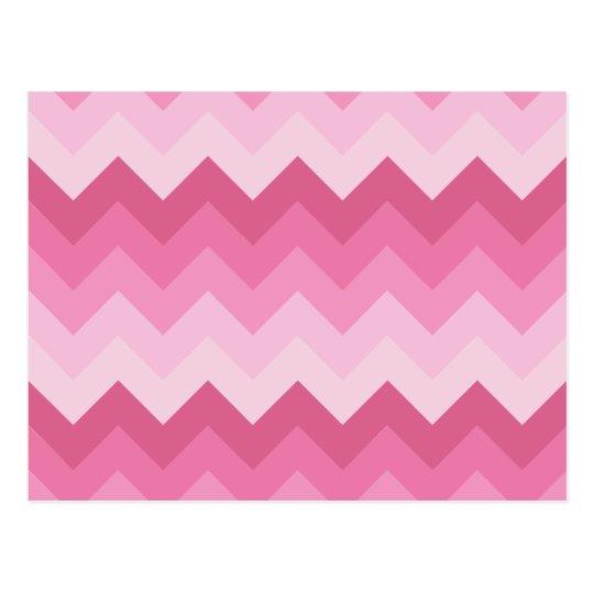 Pink chevron pattern postcard