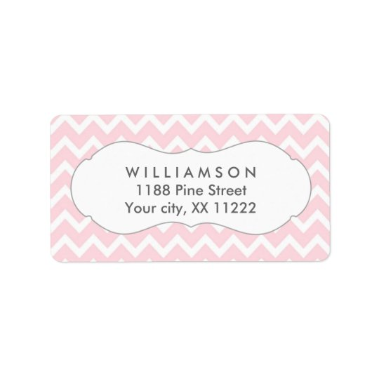 pink chevron personalised party favour tags address label