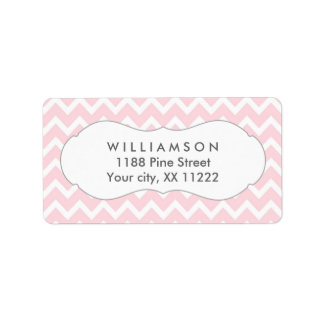 pink chevron personalized party favor tags address label