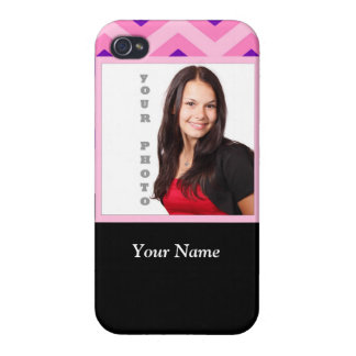 Pink chevron photo template iPhone 4 cover
