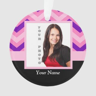 Pink chevron photo template ornament