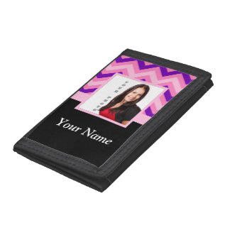Pink chevron photo template trifold wallet