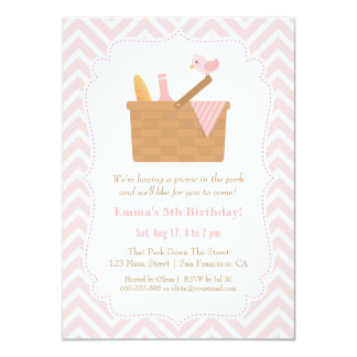 Pink Chevron Picnic Birthday Party Invitations