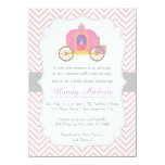 Pink Chevron, Princess Carriage, Girl Baby Shower 11 Cm X 16 Cm Invitation Card