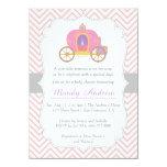 Pink Chevron, Princess Carriage, Girl Baby Shower 11 Cm X 16 Cm Invitation Card