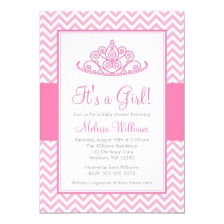 Pink Chevron Princess Crown Girl Baby Shower