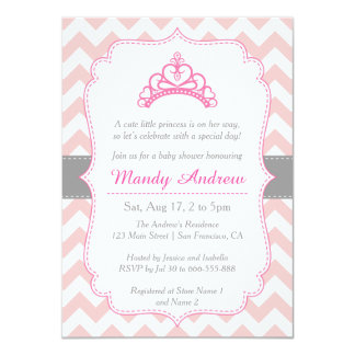 Pink Chevron, Princess Crown, Girl Baby Shower 11 Cm X 16 Cm Invitation Card