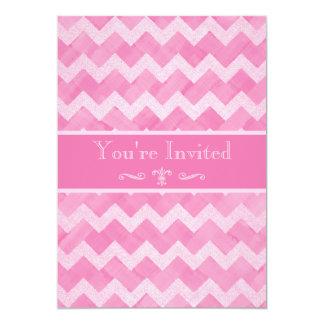 Pink Chevron Retirement Party Double Sided Print 13 Cm X 18 Cm Invitation Card