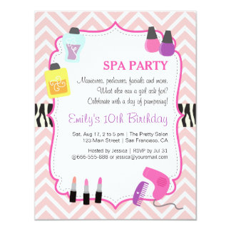 Pink Chevron, Spa Birthday Party Invitation