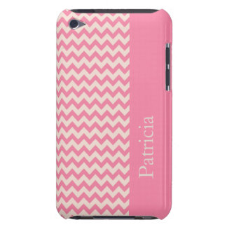 Pink Chevron Stripe Custom Name Barely There iPod Cover