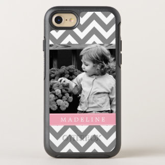 Pink Chevron Stripes Photo Frame OtterBox Symmetry iPhone 8/7 Case