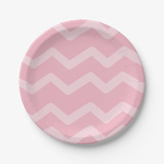 Pink Chevron Stripes Wedding, Party, Bridal Shower Paper Plate