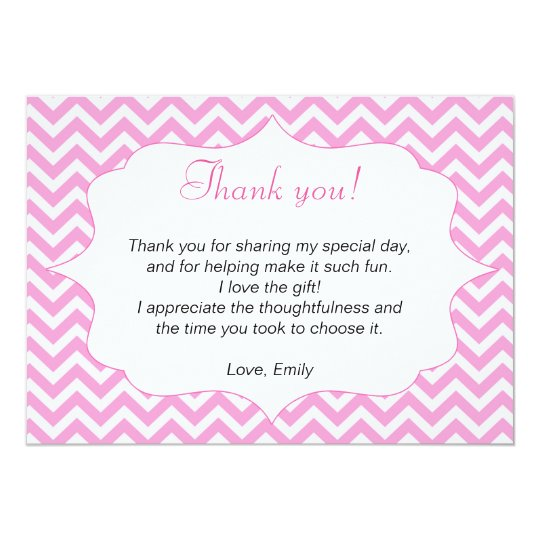Pink Chevron Thank You Card Note