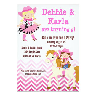 Pink Chevron Twin Cowgirls Birthday Party Invite