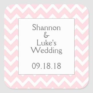 Pink Chevron Wedding Bridal Baby Shower Favor Square Sticker