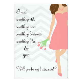 Pink Chevron Will You Be My Bridesmaid 11 Cm X 16 Cm Invitation Card