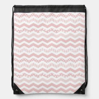 Pink Chevron with a twist Drawstring Bag