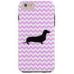 Pink Chevron With Dachshund Tough iPhone 6 Plus Case