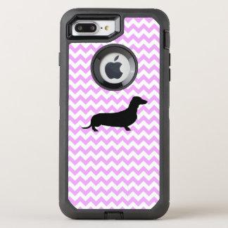 Pink Chevron With Dachshund OtterBox Defender iPhone 7 Plus Case