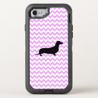 Pink Chevron With Dachshund OtterBox Defender iPhone 8/7 Case