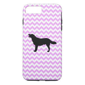 Pink Chevron With Golden Retriever Silhouette iPhone 7 Plus Case