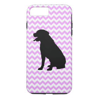 Pink Chevron With Labrador Retriever Silhouette iPhone 7 Plus Case